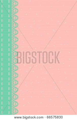 pink background with green lace.
