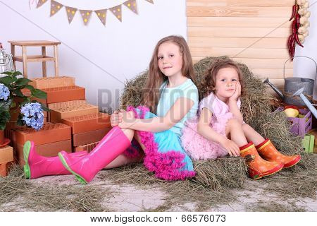 Beautiful small girls in petty skirts on country style background