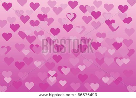 pink background with pink hearts.