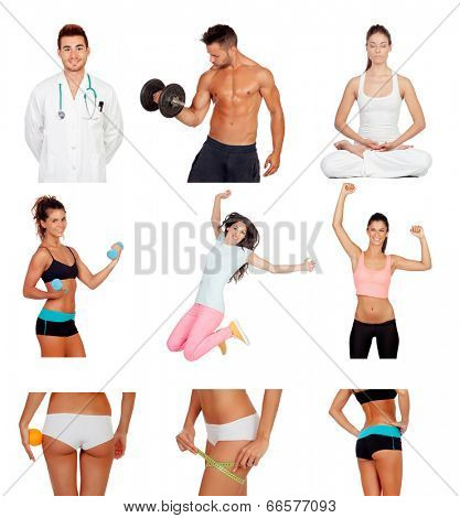Photo collage of healthy people practicing fitness isolated on white background