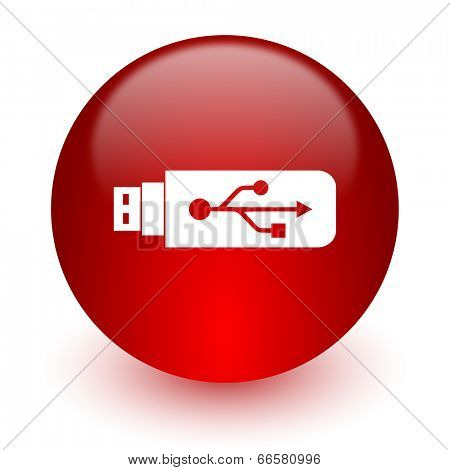 usb red computer icon on white background