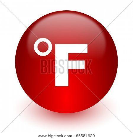 fahrenheit red computer icon on white background
