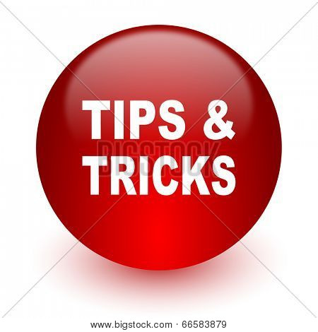 tips tricks red computer icon on white background