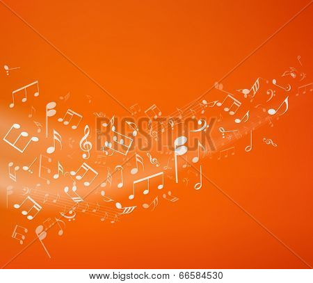Orange music background. Vector illustratin.