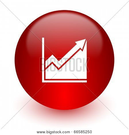 histogram red computer icon on white background