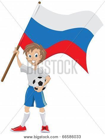 Happy soccer fan holds russian flag