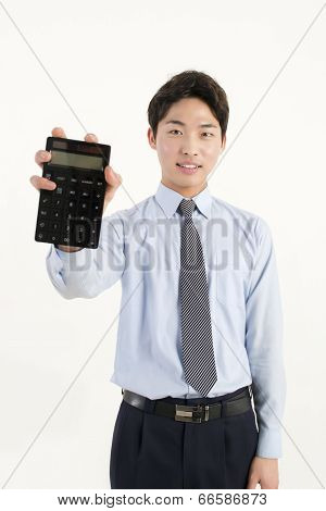 Asian bank teller with a calculator
