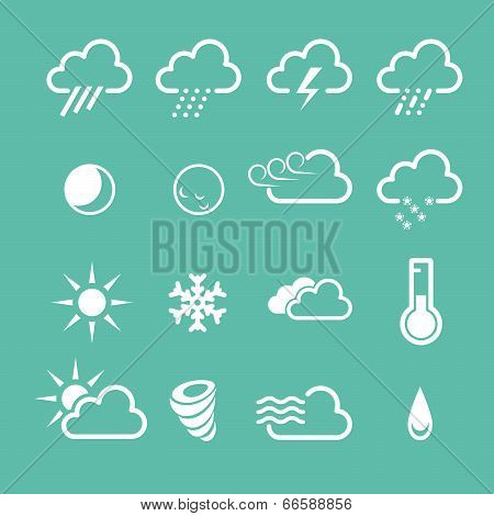 Simple forecast weather icons - sunny foggy and snowy clouds