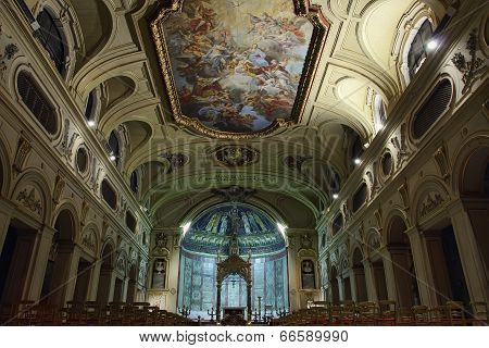 Baroque Ceiling Fresco In Santa Cecilia Church, Rome, Italy