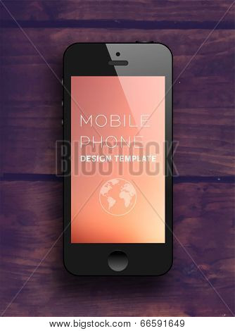 Black Mobile Phone with Blurred Background. Vintage Wood Texture. Vector.