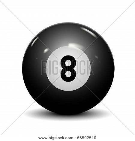 Billiard Eight Ball Isolated On White Background. Vector Illustration