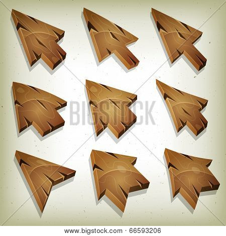 Cartoon Wood Icons, Cursor And Arrows