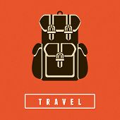 stock photo of knapsack  - Vector backpack icon in flat style  - JPG