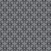 stock photo of psychodelic  - Vector geometric art deco pattern with lacing shapes in black and gray - JPG
