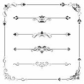 stock photo of divider  - Set of vintage vector frame border divider corner - JPG