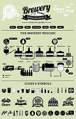 stock photo of kettles  - Brewery infographics with beer elements  - JPG
