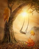 stock photo of swings  - Old swing hanging from a large tree - JPG