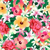 stock photo of frangipani  - Tropical hibiscus floral 4 seamless pattern  - JPG