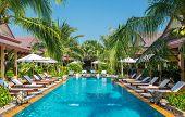 picture of swimming  - beautiful swimming pool in tropical resort  - JPG