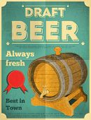 stock photo of draft  - Draft Beer Retro Poster in Vintage Design Style - JPG