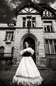 foto of wraith  - Mysterious woman in a white Victorian dress - JPG