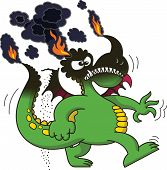image of dragon head  - Funny green dragon clenching its right fist and teeth and walking in a very angry mood while its tail - JPG