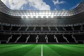 stock photo of football pitch  - Digitally generated large farge football stadium with empty stands - JPG