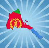 picture of eritrea  - Eritrea map flag on blue sunburst illustration - JPG