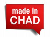 pic of chad  - made in Chad red 3d realistic speech bubble isolated on white background - JPG