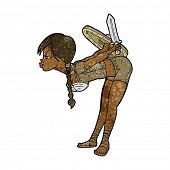 picture of valkyrie  - cartoon viking girl bowing - JPG