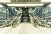 image of escalator  - Interior of a modern subway station escalator - JPG
