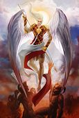 stock photo of hells angels  - Archangel Michael descending and fighting demons in hell - JPG