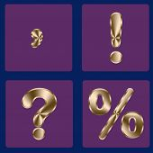 stock photo of punctuation  - Punctuation execution in gold color on a purple background - JPG