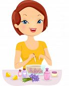 pic of perfume  - Illustration of a Girl Making Homemade Perfume - JPG