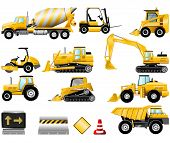 stock photo of dozer  - Construction Machinery icons isolated on the white - JPG
