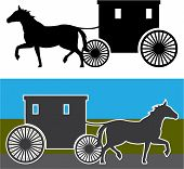 picture of carriage horse  - amish carriage simplistic vector illustration eps drawing - JPG