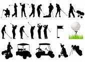 Silhouettes of Men playing golf