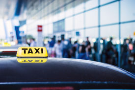picture of passenger train  - Taxi car waiting arrival passengers in front of Airport Gate - JPG
