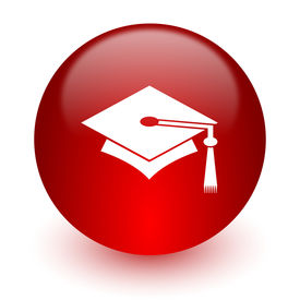 stock photo of toga  - education red computer icon on white background - JPG