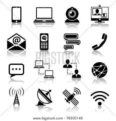 Communication icon black set