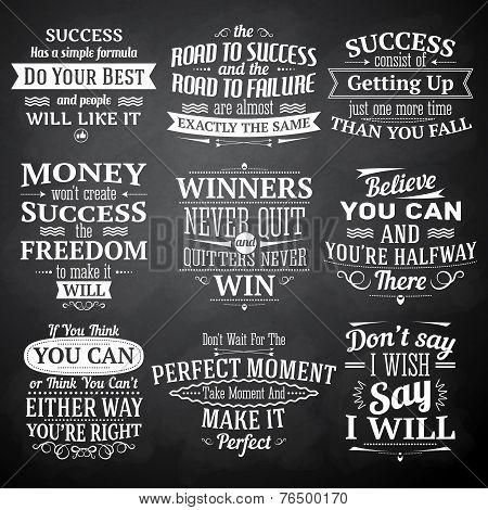 Success quotes chalkboard set