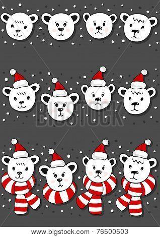 polar bears christmas winter holidays seamless horizontal border set set on dark