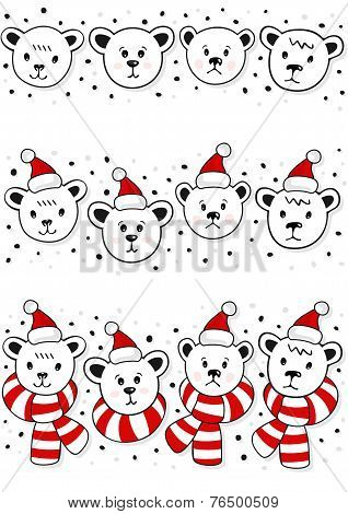 polar bears christmas winter holidays seamless horizontal border set set on white
