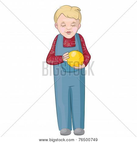 Boy Carefully Studying Christmas Ball
