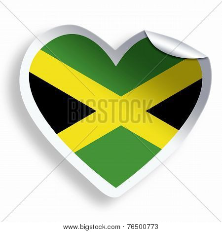 Heart Sticker With Flag Of Jamaica Isolated On White