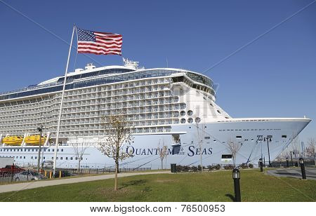 Newest Royal Caribbean Cruise Ship Quantum of the Seas docked at Cape Liberty Cruise Port