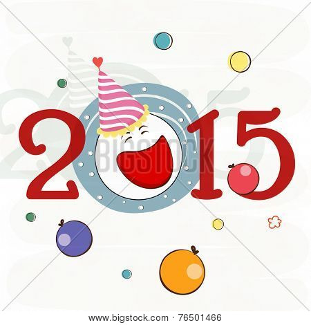 Kiddish Happy New Year greeting card design with cute joker face on balloon decorated beige background.