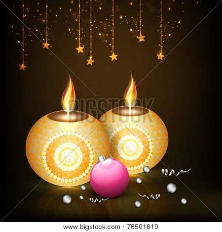 Elegant greeting card with Illuminated oil lit lamps and pink X-Mas ball on hanging stars decorated brown background.