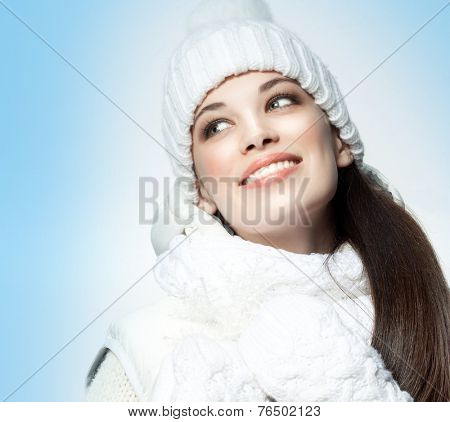 closeup portrait of attractive  caucasian smiling woman brunette isolated on white studio shot lips toothy smile face hair head and shoulders winter christmas