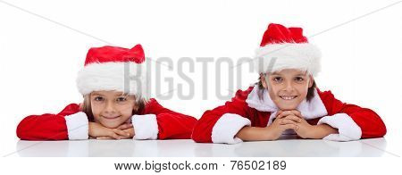 Happy Kids In Santa Claus Outfit - Isolated